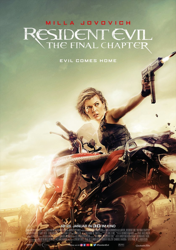 Resident Evil: The Final Chapter - Zombiehorror, Videospielverfilmung, Action, Trash, Release, DVD, Blu-ray, 4K, Blu-ray 3D, infos, News