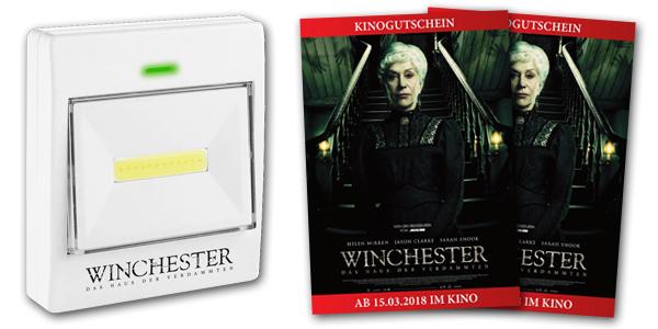 Winchester - Poster, Kinostart, Infos, Gewinnspiel, Horrorfilm, Lichtschalter, Taschenlampe, Kinokarten