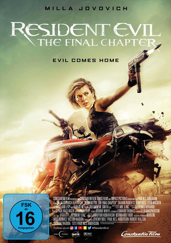 Resident Evil: The Final Chapter - Blu-ray DVD Cover FSK 16